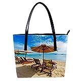 LORVIES Belle chaise de parasol d'arbre de noix de coco de plage tropicale Sac à bandoulière en cuir PU et sacs à main Sac fourre-tout pour femmes