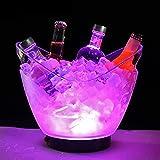 AGGF Seau à Glace Lumineux Transparent de Grande capacité 4L Seau à Glace en Plastique coloré de LED Seau à Glace Transparent de Boissons de vin de bière pour la Barre à la Maison, bière de refro