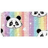 nakw88 Tapis de bain ovale à rayures colorées et motifs panda et étoiles - 67 x 37 cm - Ventouses puissantes - Pour sols lisses uniquement
