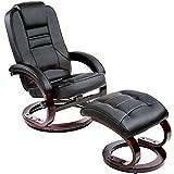 TecTake 403849 Fauteuil Relax TV avec Pouf Pivotant à 360° Rembourrage Confortable Design Moderne Noir