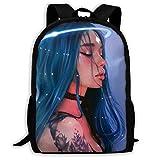 ADGBag School Backpack Sweet American Girl Blue Circle with Tattoo Bookbag Casual Travel Bag for Teen Boys Girls Shoulder Bag Book Scholl Travel Backpack Sac à Dos pour Enfants