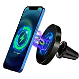 LUOWAN Support Telephone Voiture Magnetique, Qi Chargeur sans Fil Rapide Voiture,avec 360 degré de Rotation,Support de Téléphone d'évent de Voiture 7, 5W/15W pour iPhone 12/12 Pro/12 Pro Max/Mini