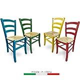 ZStyle Chaise en paille modèle Venezia en bois coloré, pour restaurant, gîte, cuisine - vert, bleu, jaune, rouge