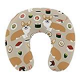 Respirant Confortable Sushi Japonais drôle Corgi Chiens Oreiller Cervical Mousse à mémoire Souple en Forme de U Oreiller de Voyage pour Avion Voiture de Bureau à Domicile
