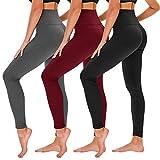 TNNZEET Lot de 3 leggings opaques pour femme - Taille haute - Pantalon de sport - Pantalon de yoga - Contrôle du ventre - Pantalon de course pour yoga, loisirs, gym - - 4XL/6XL