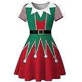 XNBZW Femmes Bonhomme De Neige Robes de Noël À Manches Courtes Imprimer Vintage Costume Robe de Fête Swing Rouge C L