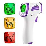 Thermomètre Frontal Infrarouge, Termometre Médical sans contact pour Bébés, Adultes, Enfants avec Alerte Fièvre Thermometre Numérique, Écran LCD, Fonction Mémoire