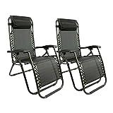 MaxxGarden Lot de 2 chaises Longues, Toile Tendue, Pliable, avec Rembourrage de Tête Amovible, Charge Max: 120 kg - diverses Couleurs