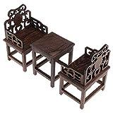 Kesoto Style Chinois Rétro Table Miniature + 2 Pièces Fauteuils Miniature Modele Mobilier 1/6