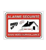 AUA SIGNALETIQUE - Panneau Alarme sécurité sous vidéo Surveillance 24h/24 PROPRIÉTÉ PRIVÉE - 150x105 mm, PVC 1.5 mm