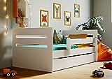 Lit d'Enfant Complet 80x140 80x160 80x180 sommier tiroir barrierères pour Filles garçons lit Simple - Tomi - 80 x 180 cm - Blanc