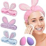 YMHPRIDE Spa Headband - 3 pièces bandeau de lapin pour filles femmes joli bandeau élastique doux Carol avec ensemble de mixeur éponge de maquillage, bandeaux de maquillage bandeau de douche(Couleur B)