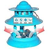 Évacuateur de Fumée de La Cheminée, Extracteur d'air Extérieur, Extracteur Cheminée, Aspirateur de Fumée pour Cheminée, 150Watts 5Leaves, Bleu