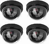 NONMON Caméras Factices,Fausse de Sécurité Surveillance Cameras Dôme CCTV avec LED Clignotant Lumière,Usage Intérieur Extérieur pour Entreprise Magasin Accueil Bureau,Lot de 4