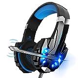 Micro Casque Gaming PS4, Casque Gamer Stéréo Lumière Stéréo Bass Anti-Bruit LED lumière avec 3.5mm Jack Compatible PS4/PS5/ Xbox One/PC/Mac/Nintendo