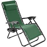 TecTake 800885 Chaise Longue Toile Tendue Pliable avec Rembourrage de Tête Amovible - Diverses Couleurs - (Vert)