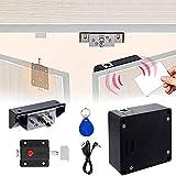 Serrure électronique pour armoire avec loquet coulissant pour double porte d'armoire, tiroir, serrure RFID cachée pour armoire en bois avec câble USB, NFC