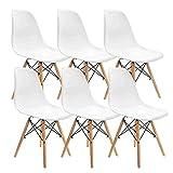 Muebles Home Lot de 6 chaises de salle à manger modernes en plastique avec pieds en bois pour chambre à coucher, salon Blanc
