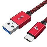 RAMPOW Câble USB C 2m USB 3.0, Câble USB Type C Charge Rapide 3A, Chargeur USB C Nylon Tressé avec Connecteur Résistant pour Samsung S8/S9/S10 Note 10, Xiaomi, Sony et Plus - Rouge