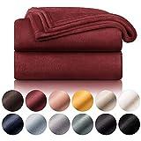 Blumtal - Couverture Polaire 150 x 200 - Plaid Rouge foncé - Plaid pour Canapé - Plaid Cocooning - Couverture Polaire Epaisse, Moelleuse, Douce Et Chaude - Haute Qualité