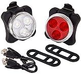 AIlysa Phare Lampe LED de Vélo, Lampe LED de Vélo, Lumière Vélo Rechargeable Avant Arrière, 4 Modes de Clignotant, Éclairage USB Antichoc Impermeable, Feu Arrière de Vélo