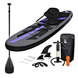 ECD Germany Stand Up Paddle Board Gonflable avec Siège de Kayak | 305x78x15 cm | jusqu'à 120 kg | PVC | Noir | Pompe à Air Pagaie Sac de Transport Accessoires | Planche de Surf | Sup Board Paddling