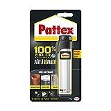Pattex 100% Pâte à réparer multi-usages, Pâte epoxy bi-composante pour collages sur de multiples matériaux, permet de reconstituer de la matière, pâte peignable & ponçable, tube de 64 g