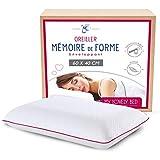 My Lovely Bed - Oreiller Forme Classique Mémoire de Forme 60x40 cm - Soutien Ergonomique : Maintien de la Nuque et des cervicales - Orthopédique - Idéal pour Mal de Dos - Ultra Confort