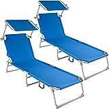 TecTake Chaise Longue Pliante Bain de Soleil avec Parasol Pare Soleil - diverses Couleurs et quantités au Choix - (2X Bleu   No. 400689)
