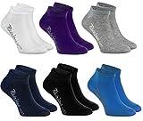 Rainbow Socks - Fille et Garçon - Socquettes de Coton Enfants - 6 paires - Blanc Violet Gris Bleu Marine Noir Jeans - Taille EU 24-29