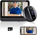 ANJIELO SMART Sonnette vidéo sans Fil, Sonnette, Électronique de Caméra de 4,3 Pouces Caméra à Judas 2,4 GHz avec Fonction de Prise de Photos Automatique, Alarme, Vision Nocturne(Tuya)