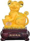 Dpliu Chinois Feng Shui Rat/Souris Année de la Statue de résine en Or Zodiaque, Bonne Chance Décoration Figurines Décoration pour Office à Domicile 0808