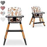 Lionelo Mona Chaise haute bébé Chaise pous les enfants plus âgés Chaise touristique Réglage complet Grand plateau Repose-pieds Ceintures à 5 points (Flower)