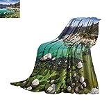 Couverture polaire double paysage - Image de California Sierra Nevada Lake Tahoe Rocky Mountains - Toutes saisons - Couverture moelleuse pour lit ou canapé - 203,2 x 152,4 cm - Bleu vert blanc