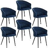 ELIGHTRY Lot de 6 Chaises de Salle à Manger Rétro Chaise de Cuisine avec Dossier et Accoudoirs Chaise de Salon Assise en Velours et Pieds en Métal,Bleu