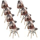 EGOONM Lot de 4/8 chaises, chaises Patchwork médiévales, chaises de Salle à Manger, chaises Longues, chaises à Dossier rembourrées, chaises de Jardin (Brun-Gris) (8-chaises)