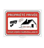 AUA SIGNALETIQUE - Panneau PROPRIÉTÉ PRIVÉE sous vidéo Surveillance 24h/24-150x105 mm, PVC 1.5 mm