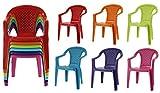 Lot de 6 chaises empilables en plastique pour enfants - Colorées - Pour l'intérieur et l'extérieur