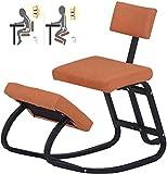 GAOLILI Chaise de Bureau Ergonomique Agenouillé Chaises de Bureau Solde Tissu Coussin Support en métal Kneel Tabouret à Bascule Back Support Posture Dossier (Color : Yellow)