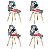 BenyLed Ensemble de 4 Chaises de Salle à Manger Chaises Patchwork Colorées avec Pieds en Bois Chaise Longue Scandinave pour Cuisine, Salon, Café, etc, (Rouge)