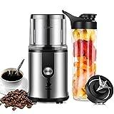 Nestling® 2 en 1 Mini moulin à café électrique et mixeur smoothie blender,Moulin à café 300W en acier inoxydable/Grains de Lin/Noix/Poivre,bouteille de fruits et légumes de 600 ml,jus et smoothies