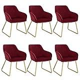WOLTU Lot de 6 Chaises de Salon Chaises de Cuisine en Velours et métal,Chaises de Salle à Manger Bordeaux BH246bd-6