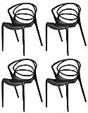 Meubletmoi Jeu de 4 chaises de Designers Noires -Collection GINA