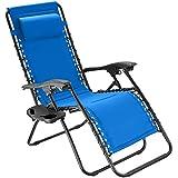 TecTake 800885 Chaise Longue Toile Tendue Pliable avec Rembourrage de Tête Amovible - Diverses Couleurs - (Bleu)