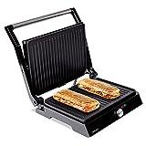 Mellerware - Gril électrique portable Hotty !   2200W   Anti-adhérent   3 en 1 (Cuisinière, Assiette, Barbecue)   Régulateur de température   LED   Ouverture 180 degrés   29 × 46 cm   Acier inoxydable