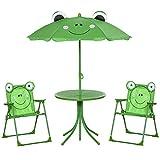 Outsunny Ensemble Salon de Jardin Enfant 4 pcs Design Grenouille - Table Ronde + 2 chaises Pliables + Parasol - métal époxy Oxford Vert