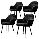 ECD Germany Lot de 4 Chaises de Salle à Manger - Assise Siège Rembourrée en Velours - Structure en Métal - Fauteuil avec Accoudoirs - Chaise de Salon - Chaises de Réception pour Bureau - Noir