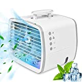 Mini Climatiseur Portable de 480 ml, 4 en 1 Ventilateur/Air Humidificateur/Conditionneur/7 Lumières LED, Ventilateur de Climatiseur Silencieux Mobile, pour Maison, Bureau et Camping