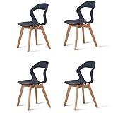 KunstDesign Lot de 4 chaises à dossier creux en plastique pour salle à manger, salon, jardin, bureau, café, noir
