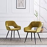 JYMTOM Chaise de salle à manger avec dos et assise en velours capitonné et pieds en métal (moutarde, 2)